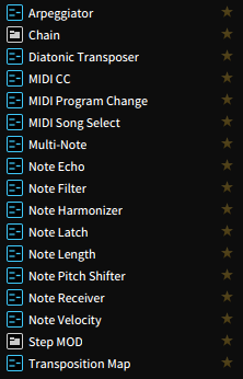 Bitwig Instruments, Note Effects and Instrument Containers