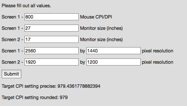 Transfer mouse DPI/CPI settings to a different resolution device