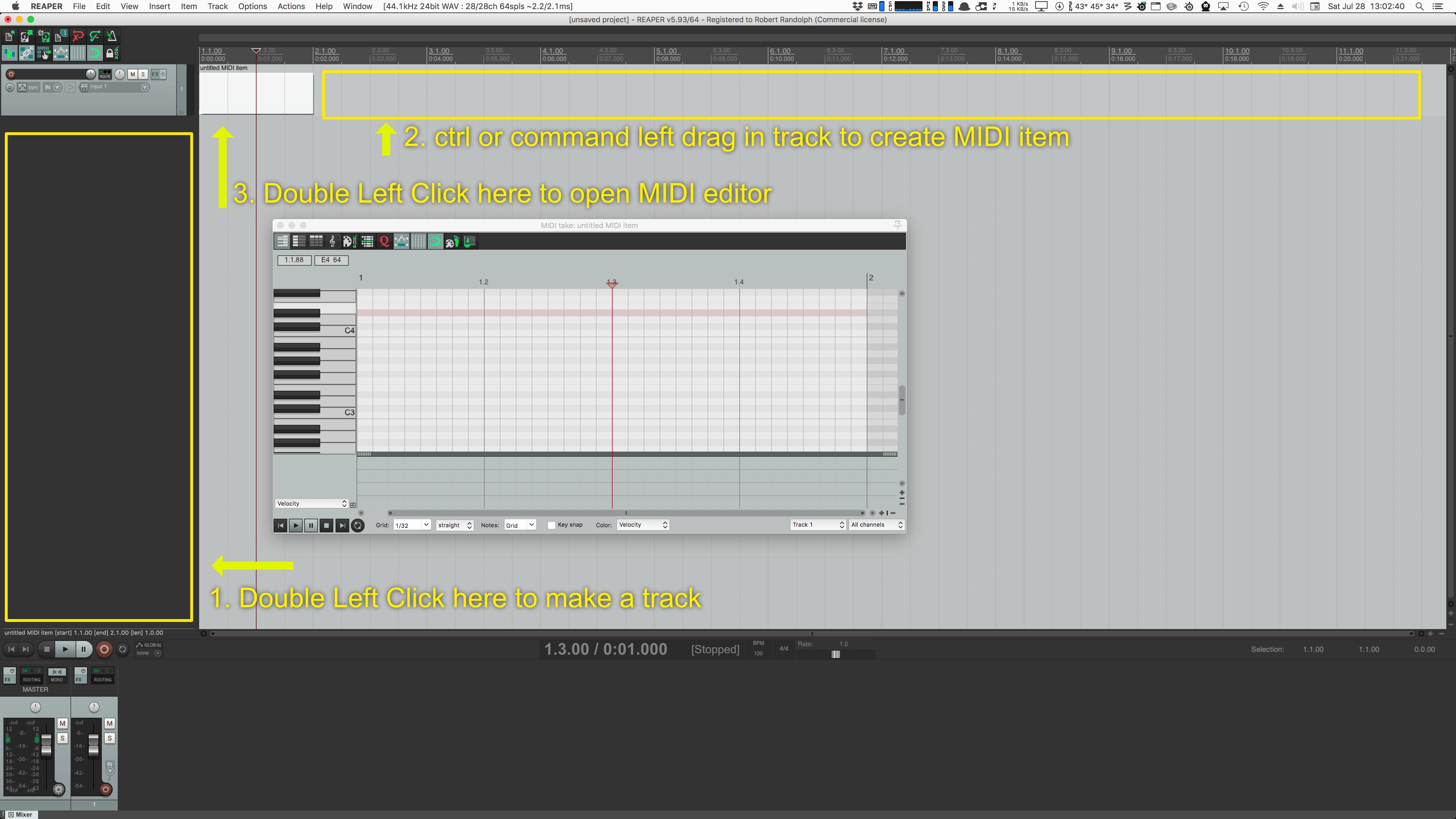 Reaper Midi Editor